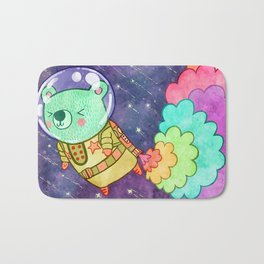Flying to the Moon Bear Bath Mat