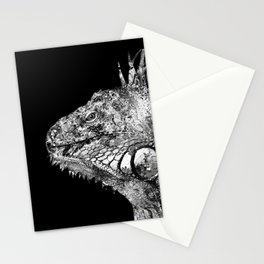 Black And White Iguana Art - One Cool Dude 2 - Sharon Cummings Stationery Cards