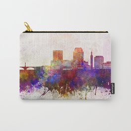 Springfield MA skyline in watercolor background Carry-All Pouch