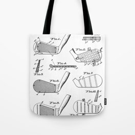 Golf Clubs Patent - Golfing Art - Black And White Tote Bag