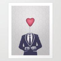 valentine Art Prints featuring Mr. Valentine by Davies Babies