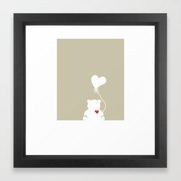 Teddy Bear Beige Heart Love Framed Art Print
