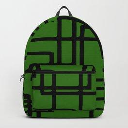 Retro Modern Black Rectangles On  Forest Green Backpack