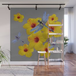 BLUE DRAGONFLIES YELLOW HIBISCUS GREY Wall Mural