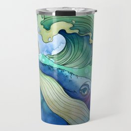 Whale Surfing Travel Mug