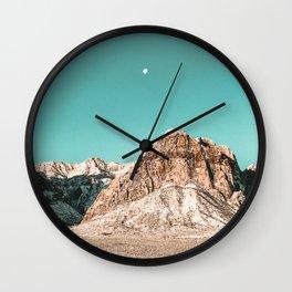Vintage Red Rocks Moon // Mountain Range Snowcaps in Winter Desert Landscape Photograph Luna Sky Wall Clock