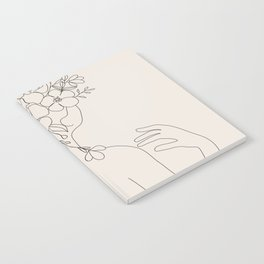 Woman with Flowers Minimal Line II Notebook