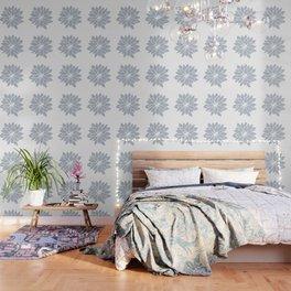 Flower Bluebell Blue on White Wallpaper