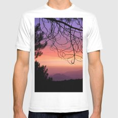 Purple sunset. At the woods MEDIUM Mens Fitted Tee White