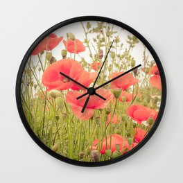 Wild Poppies #2 Wall Clock
