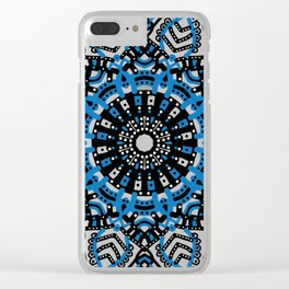 Blue mandala flowers Clear iPhone Case