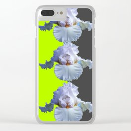MODERN WHITE IRIS DIVIDED CHARTREUSE & GREY ART Clear iPhone Case