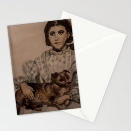 watercolor portrait of victorian girl with dog Stationery Cards