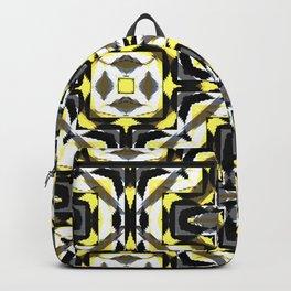 black yellow gray and white geometric Backpack