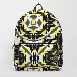black yellow gray and white geometric Backpack