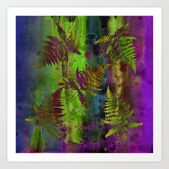 Colorful Fern Leaves Art Print