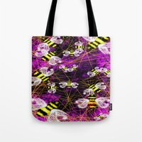 bees Tote Bags featuring Bees by Marven RELOADED