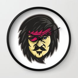 Corsair With Eye Patch Mascot Wall Clock