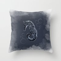 sea horse Throw Pillows featuring Sea-horse by fujer