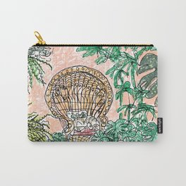 Tropical Coral Jungle Room with Sleeping Cat Carry-All Pouch