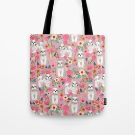Shih Tzu florals love gift for dog person pet friendly portrait dog breeds unique small puppy Tote Bag