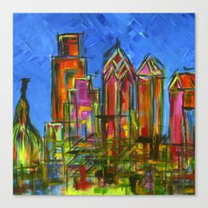 Philly Neon Skyline Canvas Print