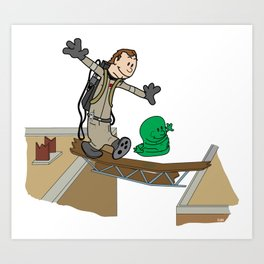 Slimer and Venkman Art Print