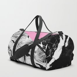 Pink Black and White Marble Colour Blocking Duffle Bag