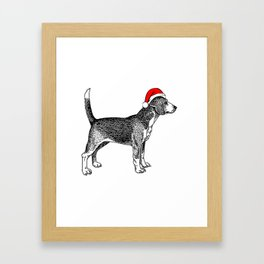 Beagle Dog with Christmas Santa Hat Framed Art Print