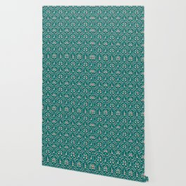 Retro Bathers in Teal Wallpaper