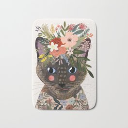 Siamese Cat with Flowers Bath Mat