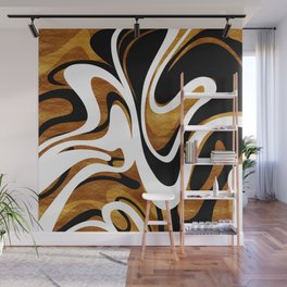 Finger Paint Swirls - Gold, Black and White Wall Mural