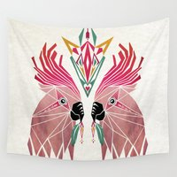 parrot Wall Tapestries featuring parrot by Manoou