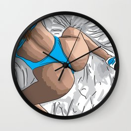 fit girl on bed Wall Clock