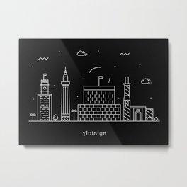 Antalya Minimalist Skyline Drawing Metal Print
