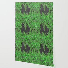 DECORATIVE CHARCOAL GREY GREEN FERNS GARDEN ART Wallpaper
