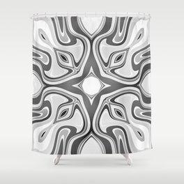 RAVEN black and white graphic design native spirit motif Shower Curtain