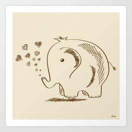 Baby Elephant Doodle Art Print