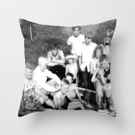 Day at the Lake | Vintage Black and White 1960s Family Photo  Throw Pillow