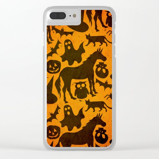 Halloween Spook Unicorn Clear iPhone Case