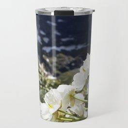 White Flowers and Mountain Pass (Milford Sound) Travel Mug