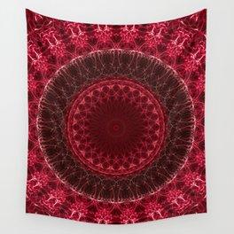 Dark red detailed mandala Wall Tapestry