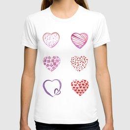 Watercolor Pink Hearts T-shirt