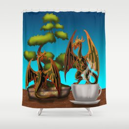 Hot Coffee with Bonsai and Fire Dragons Shower Curtain