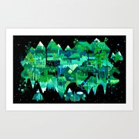 Order of Nature - geometric acrylic landscape painting Art Print