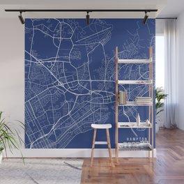 Hampton Map, USA - Blue Wall Mural