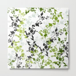 Branches and Leaves in Cobalt Grey and Green Metal Print
