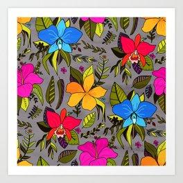 Tropical Floral on Grey Art Print