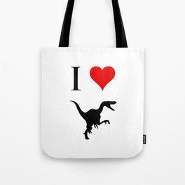 I Love Dinosaurs - Velociraptor Tote Bag