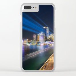 Laser Show above the Sydney Skyline Clear iPhone Case
